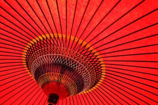 野点傘 野点 傘 赤 赤色 野だて傘 風景 カラフル 野外 屋外 茶会 お茶会 お茶 茶 和傘 和 和風 文化 伝統 模様 パターン 竹 竹材 木材 紙 和紙 庭園 日本 糸 紐 工芸品 アップ クローズアップ 一面 質感 テクスチャ テクスチャー 背景 バックグラウンド 明るい 逆光