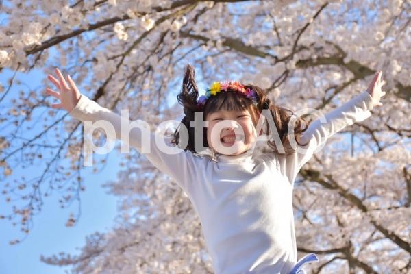 桜の下でジャンプをする子供の写真