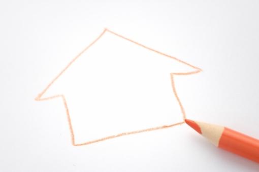 色エンピツ 色鉛筆 家 ハウス 住宅 不動産 家族 家庭 オレンジ イラスト 絵 スケッチ コピースペース