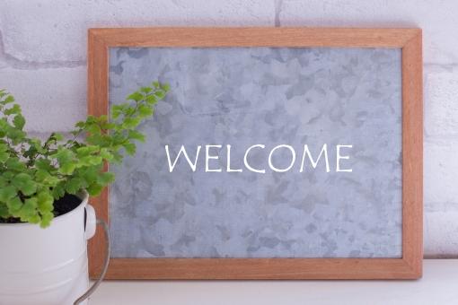 WELCOME 歓迎 招待 メッセージ メッセージボード シンプル ナチュラル ナチュラルテイスト グリーン 植物 玄関 入口 入り口 お客様 シンプルナチュラル