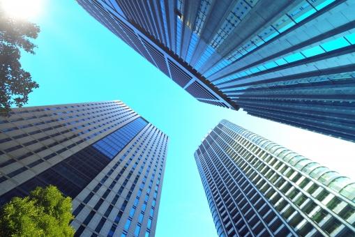 オフィス街 オフィス ビジネス街 ビジネス 高層ビル 高層ビル群 ビル ビル群 サラリーマン 青空 青 建築 建築物