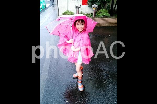 雨の日の少女の写真
