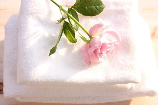 日用品 生活用品 洗面用具 洗面 洗顔 入浴用品 バス用品 バスタイム お風呂 風呂 ファブリック タオル フェイスタオル バスタオル 綿 コットン パイル 植物 花 薔薇 ばら バラ 白 無地 ホワイト ピンク ふわふわ ふかふか ソフト 柔らかい さわやか 清潔 明るい 朝 毎日 アップ テーブル 直置き 使用前 バスグッズ バス用品