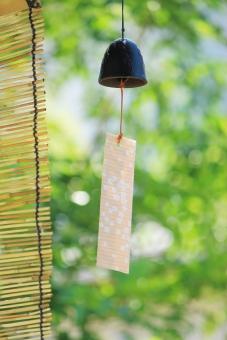 夏 夏の日 夏イメージ 風 涼 涼しい 涼しげ 風情 日本の夏 木漏れ日 木 木の葉 葉 葉っぱ 庭木 風景 自然 緑 グリーン そよ風 揺れる 涼む 庭 背景 バックグラウンド 壁紙 和 和風 リラックス リラクゼーション なごむ なごみ やさしい 落ち着く 休息イメージ さわやか 風鈴 ふうりん 小物 雑貨 背景素材 ポストカード 暑中見舞い 音色 夏の風物 軒下 金属製 すだれ 情緒 鳴る よしず 縦 夏のイメージ
