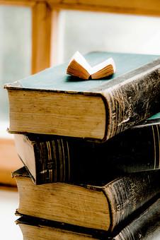 本 ブック 書物 書籍 図書 読書 読む 趣味 勉強 厚い 分厚い ミニ ミニチュア 小さい 小 ページ 開く めくる 捲る 置く 接写 クローズアップ アップ 積み重ねる 重ねる 乗せる 乗る 背表紙 積み上げる 窓 窓際 窓辺 豆本