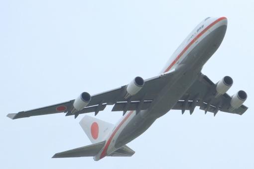 日本国 政府専用機 政治 首相 総理大臣 外交 国交 国際 日本 自衛隊 航空自衛隊 軍用機 ミリタリー 飛行機 離陸 航空祭 千歳基地 ジャンボジェット ジャンボ機 B747-400 Boeing 747-400 ボーイング 自衛隊機