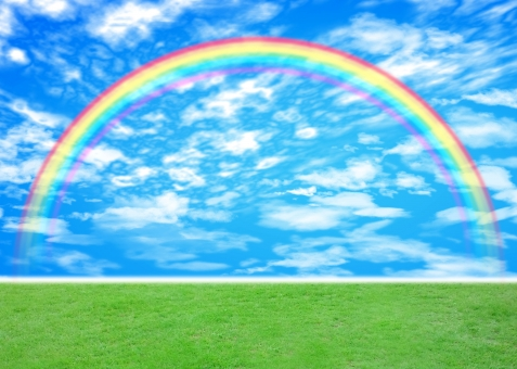 rainbow にじ 青空 芝生 sky 緑 green グリーン 青 ブルー blue 雲 希望 癒し いやし 自然 nature texture テクスチャ テクスチャー ヒーリング スピリチュアル 虹色 レインボー 背景 背景素材 バック バックグラウンド background 雨上がり