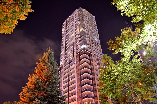 マンション 高層ビル ビル 建物 外観 屋外 外 窓 ガラス  空 景色 壁 外壁 建築 緑 樹木 樹 木 植物 夜 夜景 住居 部屋 風景 紅葉