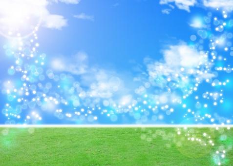 青空 芝生 青 ブルー 緑 グリーン blue green background texture nature キラキラ bokeh ボケ 青空 sky 自然 エコ エコロジー スピリチュアル ヒーリング 癒し いやし 背景 背景素材 バック バックグラウンド 環境保護 自然保護 環境問題
