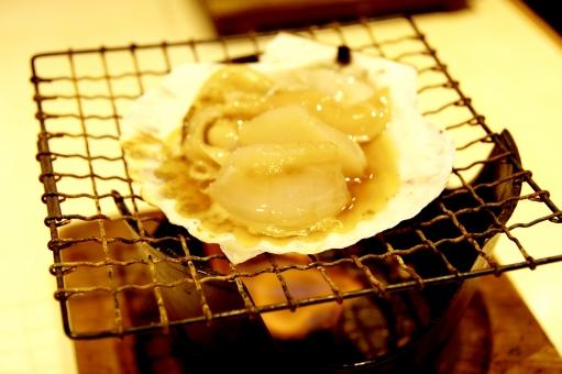 ほたて ホタテ 帆立 スカルプ 貝 火 焼く 磯焼き コンロ 煮立つ 美味しい 網 美登利寿司