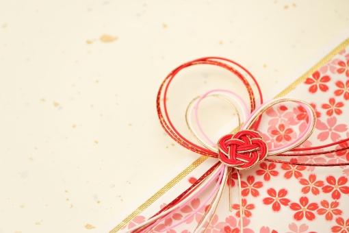 和紙と水引の背景 桜柄の写真