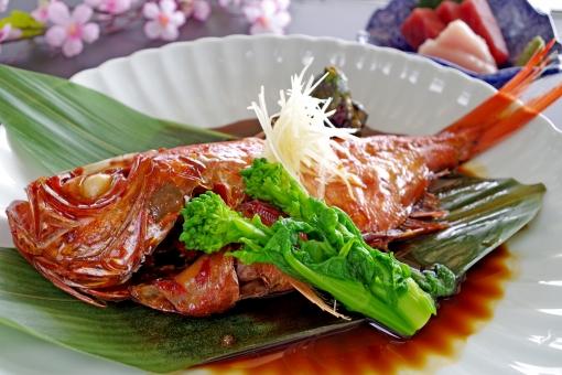 お祝い 和食 春 魚 菜の花 寿 料亭 祝 煮付け 金目鯛 鯛 七五三 成人式 金目 煮魚
