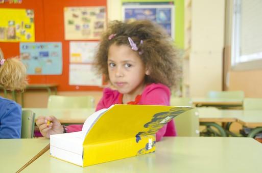 人物 生物 人間 外国人 子ども かわいい 小さい キッズ 生徒 学生 学童 幼い 学校 勉強 学び 教育 授業 クラス まじめ 教室 机 教科書 分厚い 本 女子 女の子 読む mdfk033