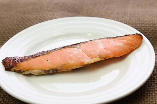 焼き鮭 魚 焼き魚 鮭 シャケ 和食 食べ物 皿 小皿 塩分 塩気 栄養 栄養バランス 健康 和定食 朝食 テーブル 鮮魚 サーモン サケ 塩鮭 塩サケ 食事 タンパク質 料理