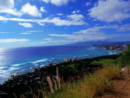 ダイヤモンドヘッド ハワイ hawaii オアフ島 オアフ 絶景 ワイキキ waikiki ビーチ 海 空 夏空 大空 青 アメリカ リゾート 植物 登山 山頂 景色 ビュー 波 青い海 背景 バックグランド background バックグラウンド 雲 白い雲 夏 サマー summer 風 爽快 気持ちいい 爽やか 壮大
