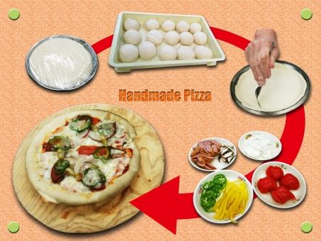 手作り ハンドメイド ホームメイド ピザ イタリアン もちもち 具だくさん 生地 発酵 成形 1次発酵 チーズ トマト パプリカ ソーセージ ウインナ たまねぎ ピーマン ベンチタイム パンピザ 白背景 素材 食べ物 手順 背景 ポストカード フレーム