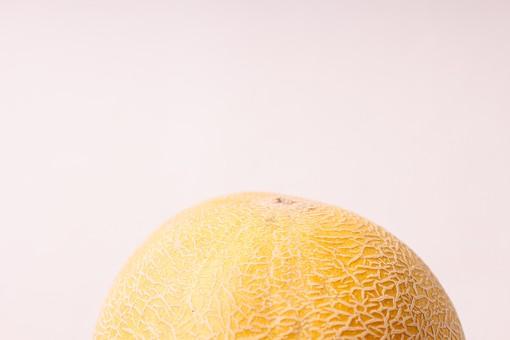 メロン 果物 フルーツ 瓜 ウリ科 果実 水菓子 野菜 果実的野菜 くだもの ベジタブル やさい 黄色 ウリ 緑 イエロー グリーン  デザート キュウリ属 温室 ハウス 露地 網目 ネット系 夕張 北海道 高級 甘い 美味しい おいしい 南国 アップ 接写 白バック 白背景