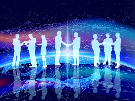 テクノロジービジネスの幕開け-握手する複数のビジネスマンと地球の写真