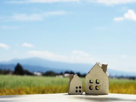 家の小物2個とそばの花と稲と山の遠景の写真