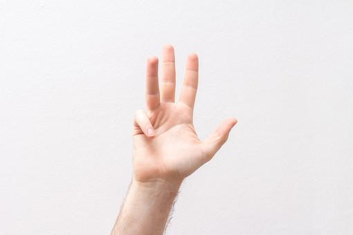 人 人間 人体 身体 人肌 肌 皮膚 手 指 手指 ゆび 関節 指の関節 デッサン 手のデッサン 手のモデル 手のポーズ  爪  右手  白い 白背景  曲げる 指を曲げる  手首 小指を折る 掌 手のひら ハンドモデル ニュアンス 表情