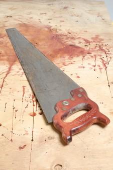 事件 現場 事件現場 犯行現場 殺人  残虐 残忍 凶悪 犯罪 暴力  バイオレンス 殺人事件 ホラー 血 血痕  血こん 血の跡 現場検証 警察 無人  床 証拠 凶器 のこぎり ノコギリ 鋸 サスペンス 残酷 血のり 血糊