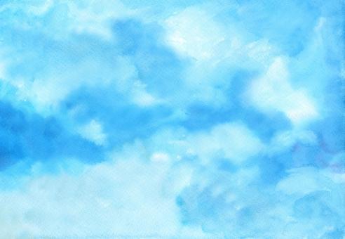 青系イメージ背景・水彩画・手書き・空・素材・夏の写真