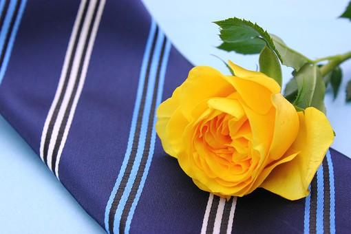 父の日 イベント プレゼント ギフト 行事  花 フラワー 生花 バラ ばら 薔薇 明るい さわやか 爽やか  黄色 青色 水色 6月 六月 感謝 贈る 青バック  ネクタイ