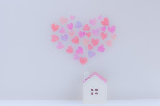 ハート型 ハートの煙 けむり 煙突 マイホーム ハウス ファミリー ホームメイド LOVE メルヘン ガーリー Home house family バレンタイン 気持ち ギフト