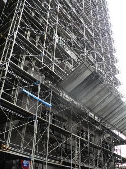工事 高層 都会 ビル マンション 14 東京 現場 鉄 パイプ 建設 建築 足場