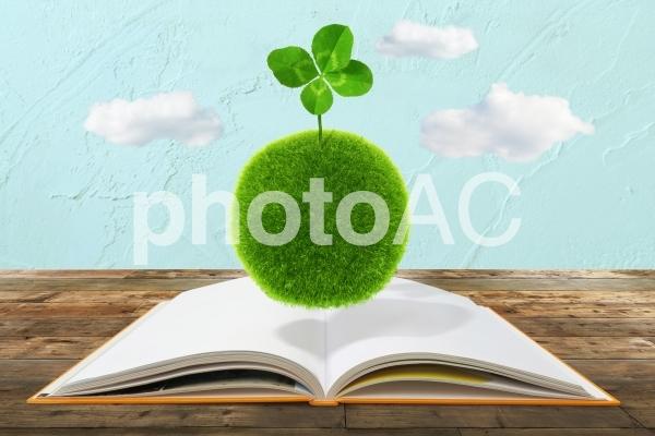 本から得た知識から芽が出るイメージ-四つ葉のクローバーと本の写真