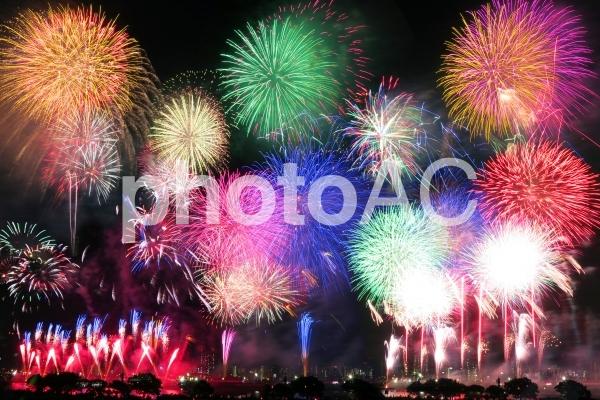 日本の夏の夜空に咲く打ち上げ花火-東京都足立区の写真