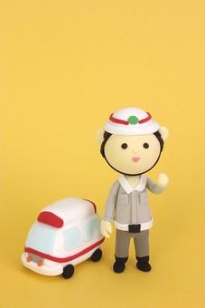 クレイ クレイアート クレイドール ねんど 粘土 クラフト 人形 アート 立体イラスト 粘土作品 かわいい 人物 仕事 働く 助ける 救助 救急隊 救急隊員 救急 救命 救急車