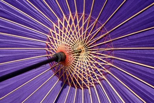 傘 和傘 番傘 蛇の目傘 かさ 紫 紫色 カラフル 和 和風 文化 伝統 模様 パターン 竹 竹材 木材 紙 和紙 日本 糸 紐 工芸 工芸品 アップ クローズアップ 開く 一面 全面 骨 骨組み 傘の骨組み 骨組 傘の骨組 質感 テクスチャ テクスチャー 背景 バックグラウンド