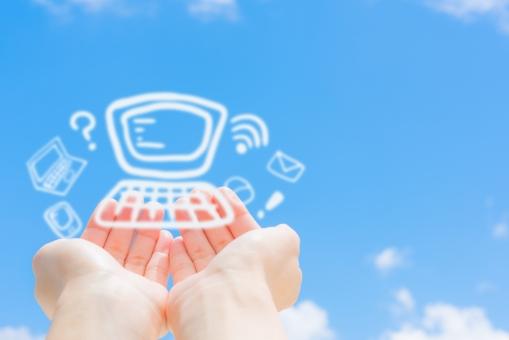 インターフェイス インターネット パソコン ノートパソコン メール ウェブ クエスチョン 電波 スマートフォン 携帯 スマホ 晴天 晴れ マウス サイト ブログ 無線 手 ビジネス 雲 モニター 女性