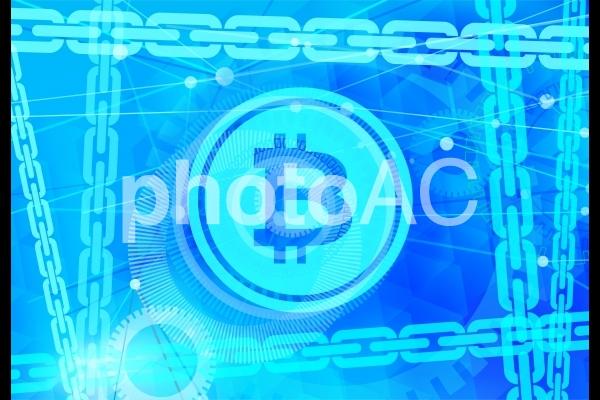 仮想通貨とブロックチェーンのデジタル青背景テクスチャの写真