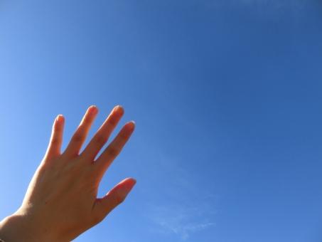 青空 そら 空 手 手の甲 背景 青 水色 hand 光 眩しい 輝く 紫外線 太陽 日焼け ハンドパーツ コピースペース 文字 女性 おすすめ 素材 日差し 人物 希望 達成 テキスト 未来 目標 夢 将来