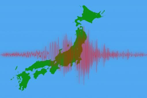 日本 日本地図 日本列島 地図 ジャパン 陸地 海 地震 波形 地震計 振動 揺れ 震災 災害 震度 マグニチュード 振幅 防災 地震波 波 震源 震源地 地震予知 グラフ 計測