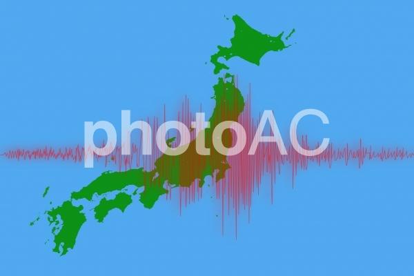 日本地図と波形の写真