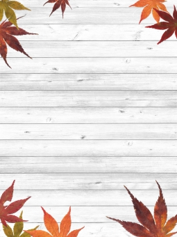 紅葉のウッドパネルの写真