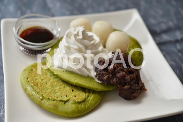 抹茶パンケーキの写真