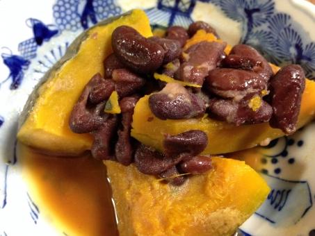 かぼちゃの煮物 かぼちゃ 南瓜 金時豆 煮物 野菜 家庭料理 おかず 総菜