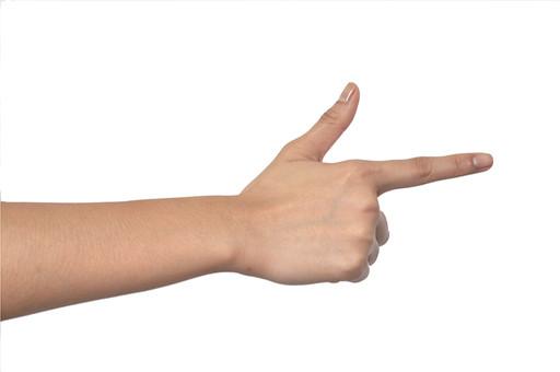 人物 背景 白 白背景 白バック 切り抜き パーツ ボディパーツ 腕 数字 片手 ポイント 指 手首 ジェスチャー 身ぶり 指示 カウント番号 肌 余白  シンプル ハンドパーツ 右手 2 二番 ふたつ 人指し指 親指 指差し 向こう あっち 人の手 矢印 鉄砲 ストライク
