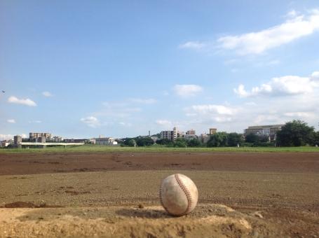 野球場 野球 野球部 高校野球 硬球 ピッチャーマウンド ピッチャープレート ベースボール 河川敷 硬式野球