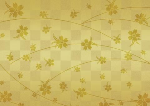 テクスチャ  テクスチャー  伝統模様   市松模様  背景  金  金箔  ゴールド  金屏風  背景素材 工芸  壁紙  屏風  和紙 歌舞伎 汚れ かすれ サクラ 桜 和柄 しだれ桜 お正月 慶事