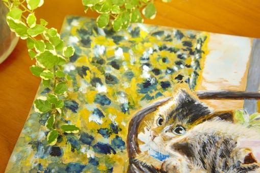 ネコ 猫 ねこ 絵 手描き 机 テーブル 植物 葉 ポメラ 見つめる かわいい かご 子猫 いやし 和む 飾り 装飾 オリジナル 作者の許諾を得ています 背景 背景素材