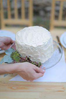 屋外 ガーデンウェディング ケーキ ウェディングケーキ 生クリーム 結婚式 披露宴 ケーキカット ブライダル ウェディング ガラスの器 植物 テーブルセッティング おもてなし スイーツ 椅子 イス 甘い お祝い ショートケーキ 料理 食べ物 白 デザート 手作り 手 配膳