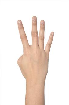 人物 背景 白 白背景 白バック 切り抜き パーツ ボディパーツ 腕 数字 片手 ポイント 指 手首 ジェスチャー 身ぶり 指示 カウント 番号 肌 余白  シンプル ハンドパーツ 右手 4 四番 よっつ 人指し指 中指 親指 人の手