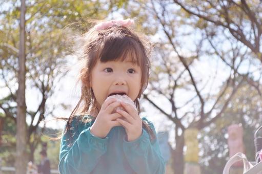 おにぎり ピクニック 食べる 子ども こども 子供 女の子 美味しい 秋 mdfk023
