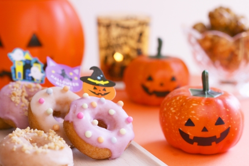パンプキン スイーツ ドーナツ おやつ ハロウィーン HALLOWEEN かぼちゃ パーティ パーティー ポップコーン キャンドル