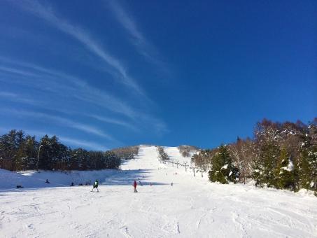 スキー スノーボード 雪 空 冬 スキー場 青空 白 スキーウェア 山 木 雲 雪景色 風景 レジャー ゲレンデ 人